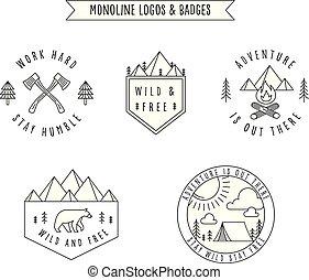 Rustic Monoline Badges