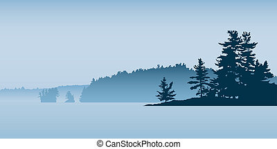 A silhouette landscape of a misty lake.