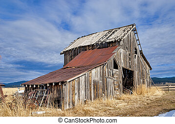 Rustic old Barn in the evening