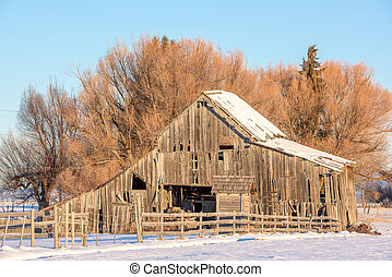 Rustic old wood barn in the winter