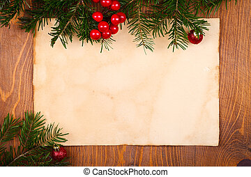 Rustic paper with Christmas decorations