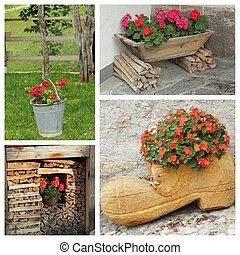 rustic planters with flowers - group of images