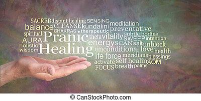 Rustic Pranic Healing Word Tag Cloud