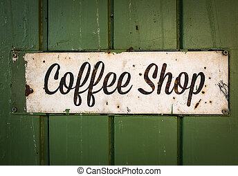 rustic, retro, kaffeestube, zeichen