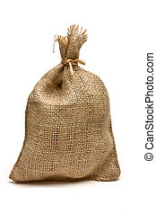 Rustic Sack - Hessian sack tied with string from low...