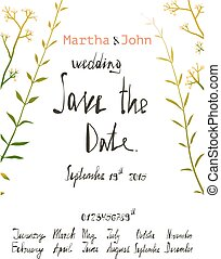 Rustic Save the Date Invitation Card Template with Inky Calligraphy