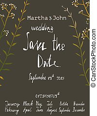 Rustic Save the Date Invitation Card Template with Inky Calligraphy on Black