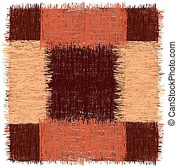 Rustic square rug with grunge striped rough elements in brown, orange colors isolated on white
