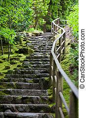 Rustic stone stairway, Portland Japanese Garden - Portland...
