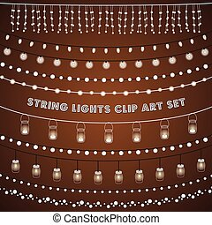 Set of glowing string lights on a rustic brown background. EPS 10 with transparency.