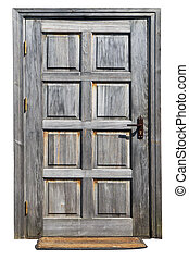 Rustic style non painted isolated door - The door in the old...