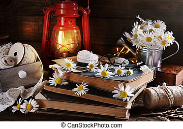 rustic style still life with daisy flowers on wooden table
