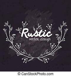 Rustic vector design, black and white illustration - Rustic...