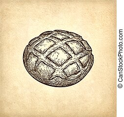 rustic, vektor, abbildung, bread