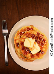 rustic waffles and syrup