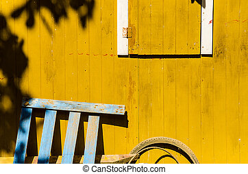 Rustic Wall Details - Details of an old yellow rustic wall...
