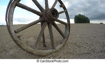 Rustic weathered wooden wheel