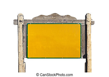 Rustic Western Blank Message Sign Isolated