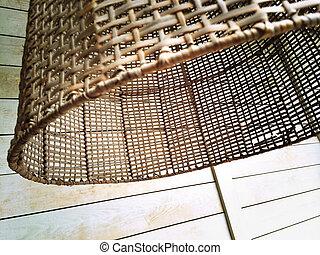 Rustic wicker lampshade - Detail of wicker lampshade, rustic...