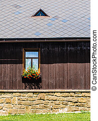 Rustic window in a mountain cottage