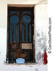rustic window in Greece