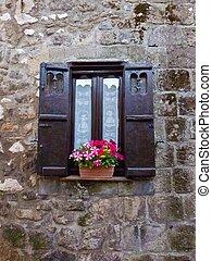 Rustic window - Unique rustic window with nice fresh flowers