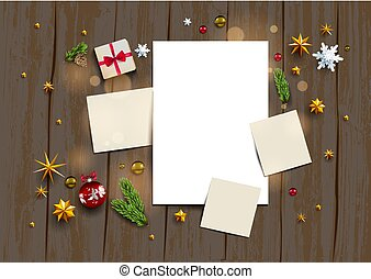 Rustic wood holiday template - Holiday mock up with festive...