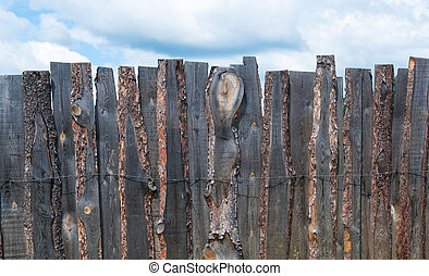 Rustic wooden boards fence
