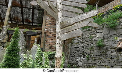 Rustic wooden destination sign post