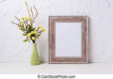 Rustic wooden frame mockup with green vase