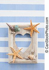 Rustic wooden frame on stripes
