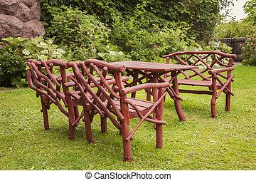 Rustic wooden garden furniture