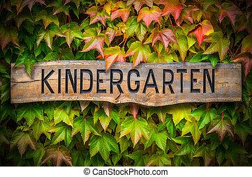 Rustic Wooden Kindergarten Sign