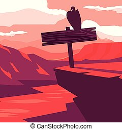 rustic wooden label in the landscape with bird