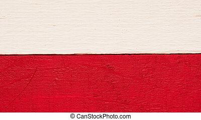 Rustic wooden Polish flag