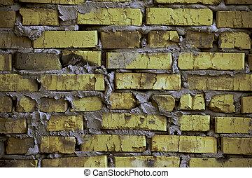 Rustic yellow-green brick wall / background