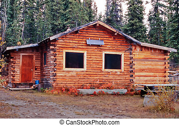 Rustic Yukon Canada log cabin outside solar panel - Old...