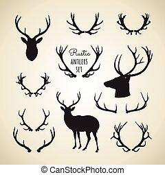 rustico, antlers, set