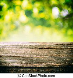 rustico, asse legno, con, estate, fogliame