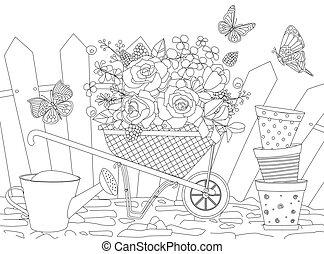 rustico, butterf, fence., divertente, contro, giardinaggio, felice, attrezzi, volare