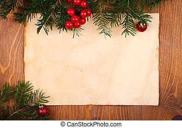 rustico, carta, decorazioni natale