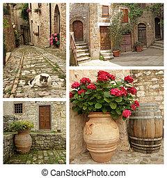 rustico, collage, stile di vita, italiano