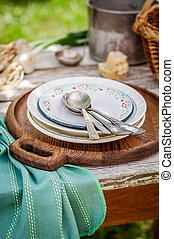 rustico, estate, tavola mette