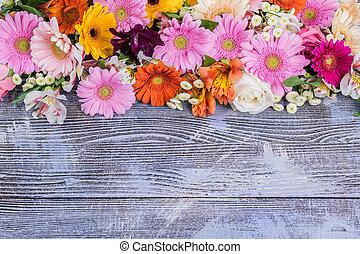 rustico, fiori, fondo