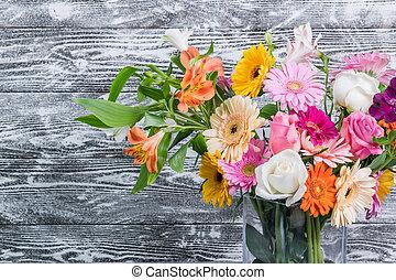 rustico, fondo, fiori