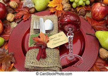 rustico, montaggio tavola, posto, ringraziamento