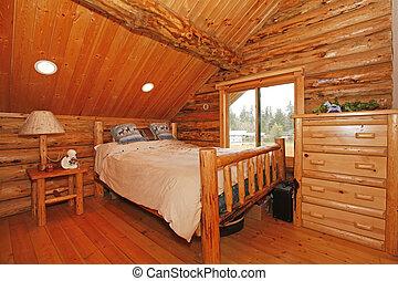 rustico, montagna, capanna di tronchi, camera letto