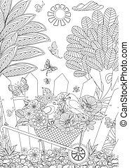 rustico, paesaggio, con, carino, uccelli, in, fiori, per, tuo, coloritura, bo