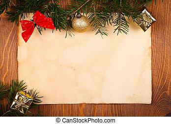 rustico, piccolo, carta, decorazioni natale