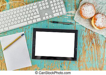 rustico, progettista, grafico, tabletop, workspace